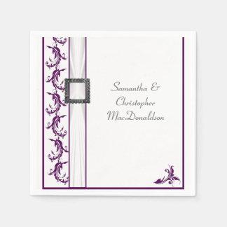 Guardanapo De Papel Casamento tradicional liso do laço roxo e branco
