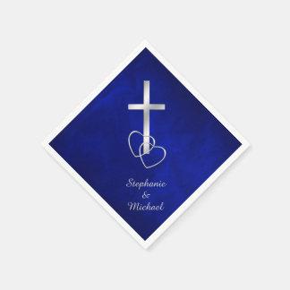 Guardanapo De Papel Casamento transversal cristão de prata azul