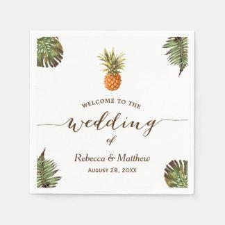 Guardanapo De Papel Casamento tropical do verão do abacaxi das folhas