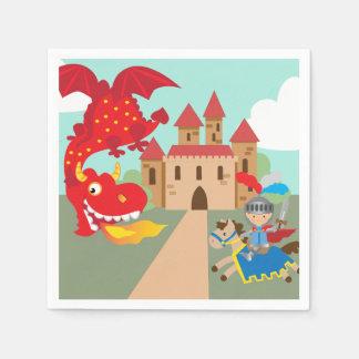 Guardanapo De Papel Cavaleiro da equitação e dragão de vôo vermelho