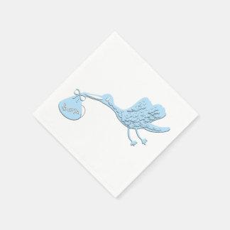 Guardanapo De Papel Cegonha azul que entrega o menino