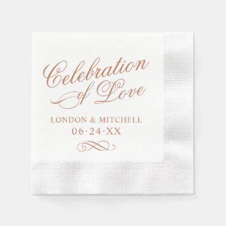 Guardanapo De Papel Celebração da elegância clássica de cobre do amor