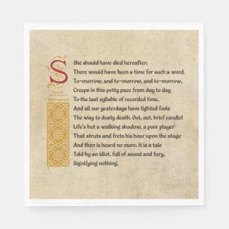 Guardanapo De Papel Cena V do ato V de Shakespeare Macbeth - som e
