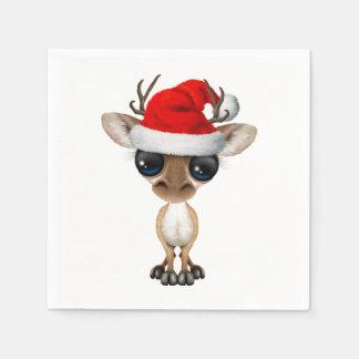 Guardanapo De Papel Cervos do bebê que vestem um chapéu do papai noel
