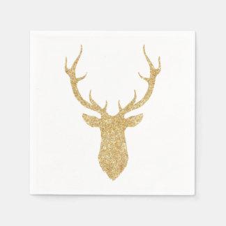 Guardanapo De Papel Cervos do Natal do brilho do ouro do falso