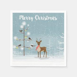 Guardanapo De Papel Cervos do Natal na madeira de Winterly