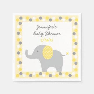Guardanapo De Papel Chá de fraldas amarelo do elefante das bolinhas