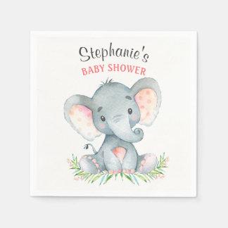 Guardanapo De Papel Chá de fraldas da menina do elefante da aguarela