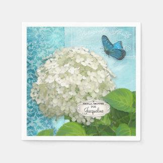 Guardanapo De Papel Chá de panela branco do damasco da borboleta do