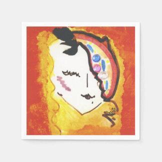 Guardanapo De Papel Chapéu feminino da cara da mulher colorida do