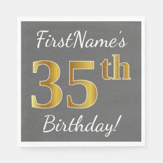 Guardanapo De Papel Cinzas, aniversário do ouro do falso 35o + Nome