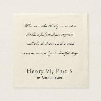 Guardanapo De Papel Citações Henry VI do insulto de Shakespeare,