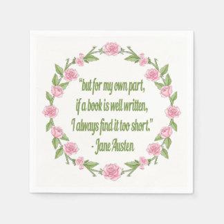 Guardanapo De Papel Citações inspiradas sobre livros por Jane Austen