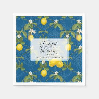 Guardanapo De Papel Citrino branco dos azuis marinhos do limão do chá