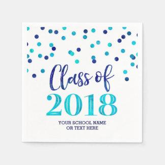 Guardanapo De Papel Classe azul dos confetes da aguarela da graduação