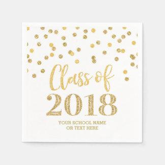 Guardanapo De Papel Classe dos confetes do brilho do ouro da graduação
