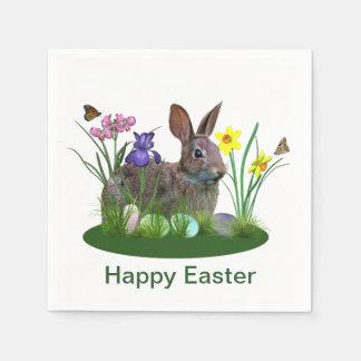 Guardanapo De Papel Coelhinho da Páscoa, ovos, e flores do primavera