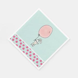 Guardanapo De Papel Coelho bonito que guardara um balão