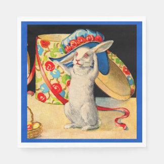 Guardanapo De Papel coelho branco pequeno bonito que veste o chapéu
