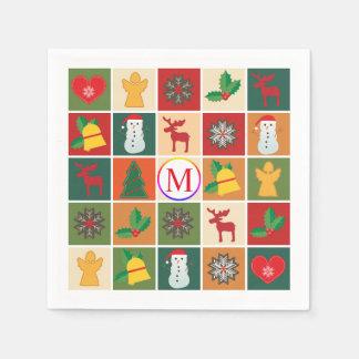 Guardanapo De Papel Colagem do Natal com monograma