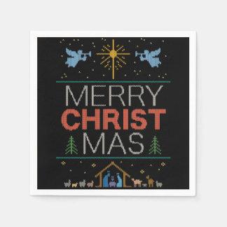 Guardanapo De Papel Colorido religioso da camisola feia do Feliz Natal