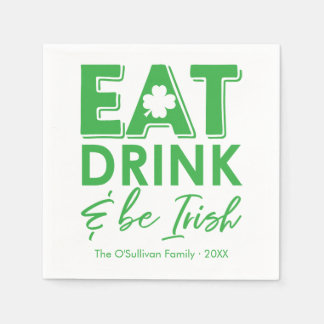 Guardanapo De Papel Coma, bebida & seja o dia de St Patrick irlandês