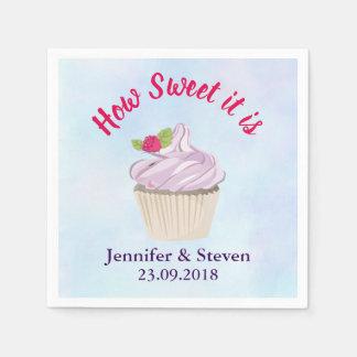 Guardanapo De Papel Como doce é casamento cor-de-rosa do cupcake