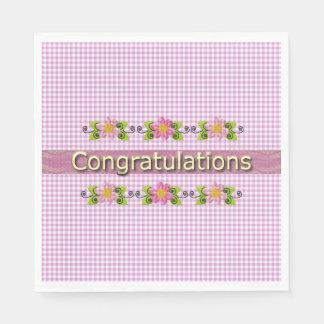 Guardanapo De Papel Congratulations_Celebraration_Gold-Floral_Gingham