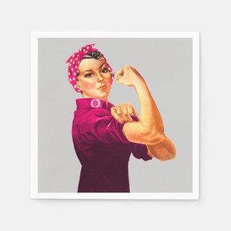 Guardanapo De Papel Consciência Rosie do cancer o rebitador