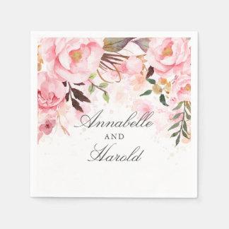 Guardanapo De Papel Cora o casamento floral cor-de-rosa