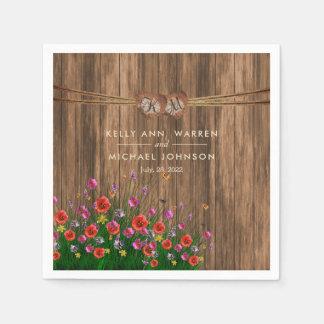 Guardanapo De Papel Coração do monograma com Wildflowers do primavera