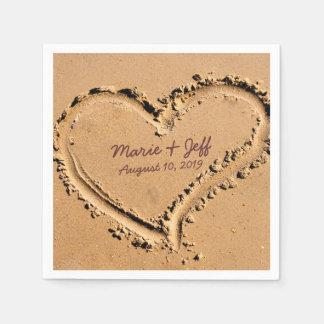 Guardanapo De Papel Coração personalizado do casamento do amor da