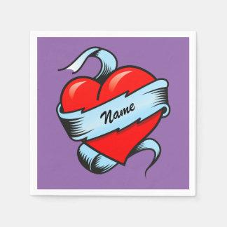 Guardanapo De Papel Coração personalizado do tatuagem