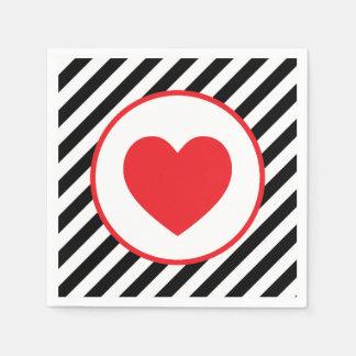 Guardanapo De Papel coração preto e branco do vermelho da listra