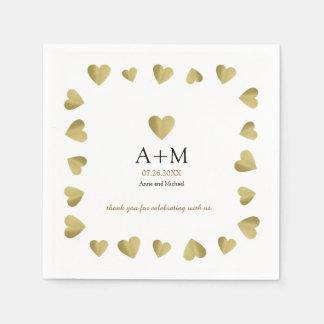 Guardanapo De Papel corações do ouro do falso do casamento monogrammed