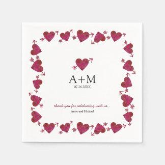 Guardanapo De Papel corações vermelhos da celebração do casamento do