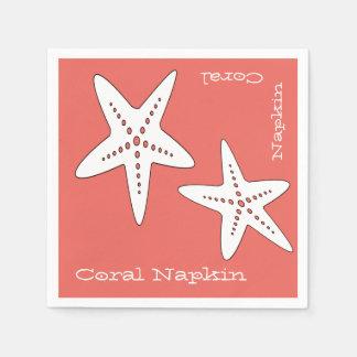Guardanapo de papel coral da estrela do mar Funky