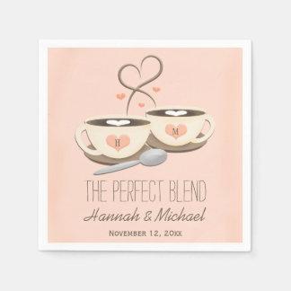 Guardanapo De Papel Coram os copos de café Monogrammed do coração que