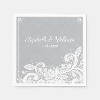 Guardanapo De Papel Costume rústico do casamento do laço branco Glam