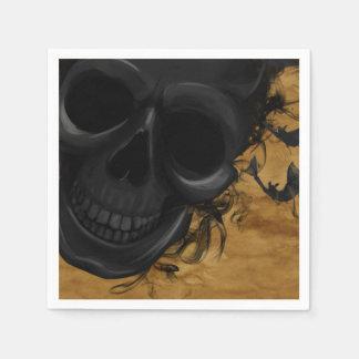 Guardanapo De Papel Crânio de sorriso preto cercado por bastões e por