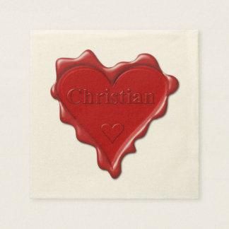 Guardanapo De Papel Cristão. Selo vermelho da cera do coração com