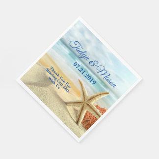 Guardanapo de papel da cena tropical da praia do