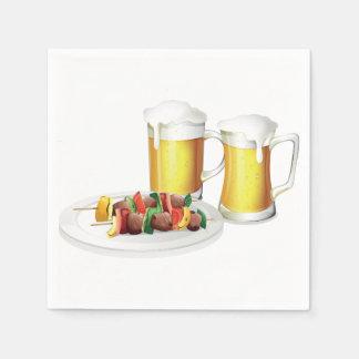 Guardanapo de papel da cerveja e do assado