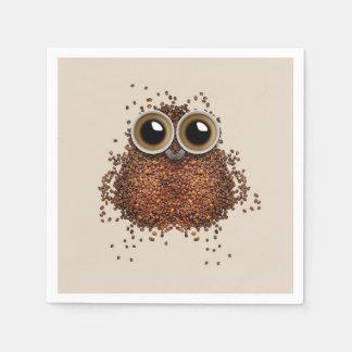 Guardanapo de papel da coruja do café