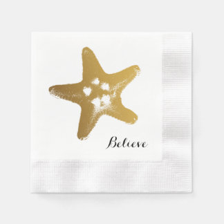 Guardanapo de papel da estrela do mar do ouro