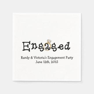 Guardanapo de papel da festa de noivado do anel de