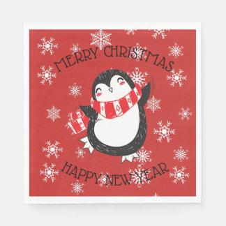 Guardanapo de papel da festa natalícia do pinguim