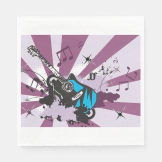 Guardanapo de papel da guitarra azul