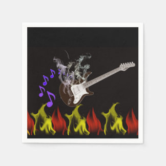 Guardanapo de papel da guitarra flamejante