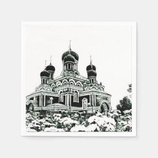Guardanapo de papel da igreja preto e branco do